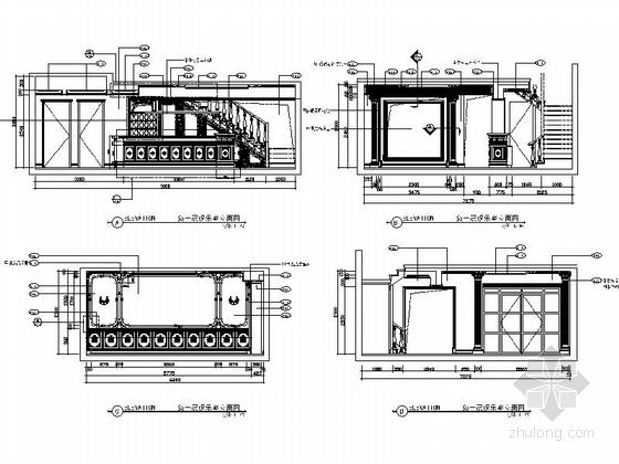 精品豪华欧式风格三层别墅室内装修施工图(含方案效果图)娱乐室立面图