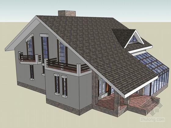 坡顶住宅SketchUp模型下载-坡顶住宅