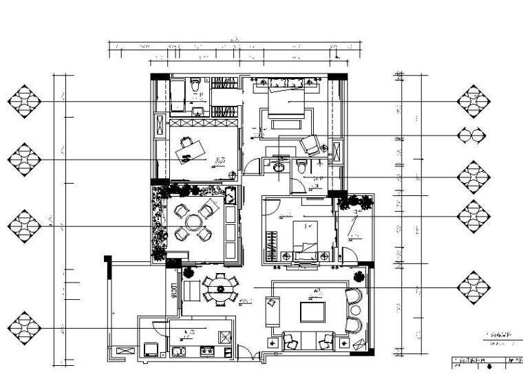 [重庆]露天院馆小户型2居室室内设计cad施工图(含材料说明表)图片