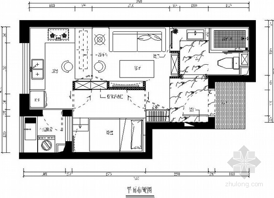 [福州]小居室温馨小巧家装施工图(含效果图)