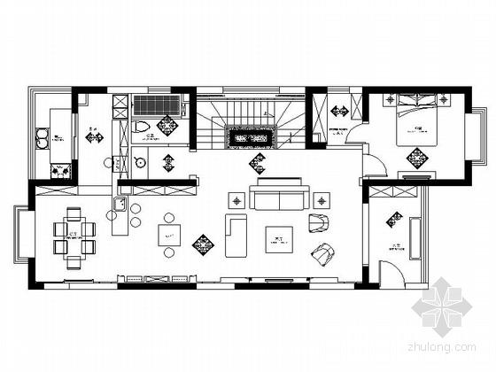 [山西]清新简约欧式风格复式室内装修施工图(含效果)
