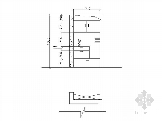 现代简约两居室装修图(含效果图) 立面图