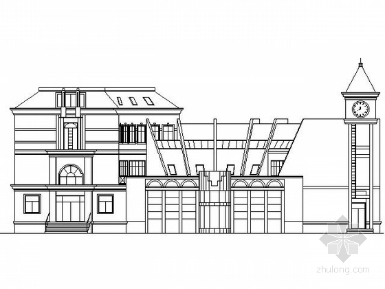某居住区三层欧式会所建筑扩初图