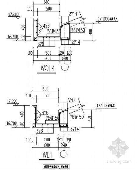 某坡屋面圈梁(带檐口配筋)节点构造详图
