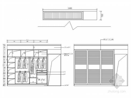精品浪漫法式风格三居室室内装修施工图(含效果)主卧衣柜立面图
