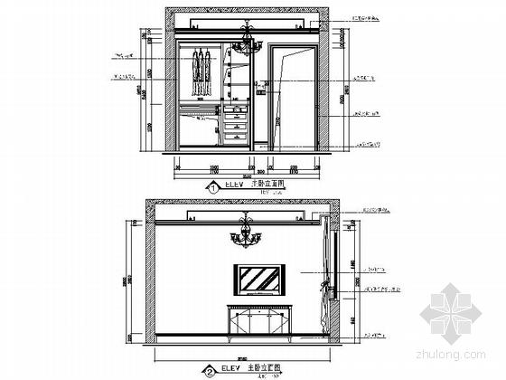 [安徽]奢派港湾小区简欧三居室样板房装修施工图次卧室立面图