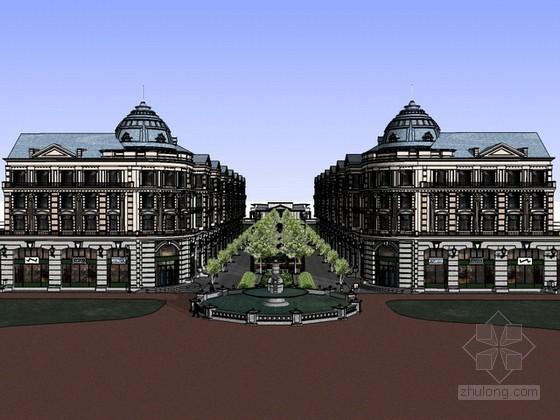欧式商业街及住宅建筑sketchup模型下载