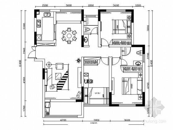 [四川]精品现代简约风格三居室装修室内设计施工图(含效果)