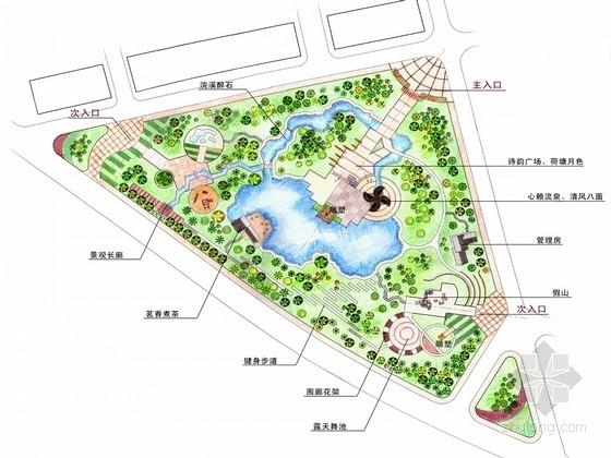 [杭州]小镇风情滨水公园景观规划设计方案(含CAD图纸)
