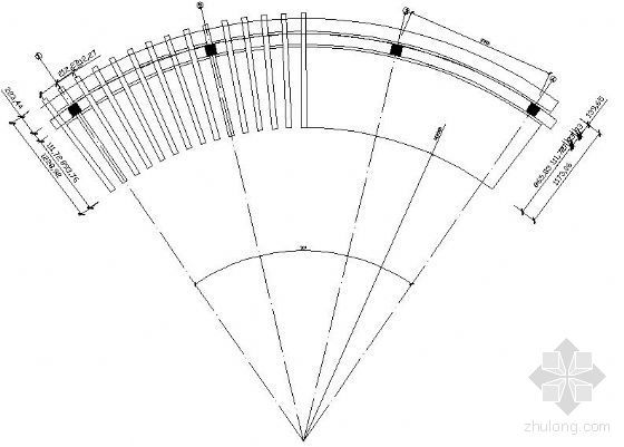 庭院中弧形花架施工图
