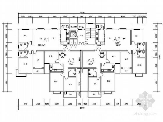 高层住宅一梯四户型图(100、127平方米)