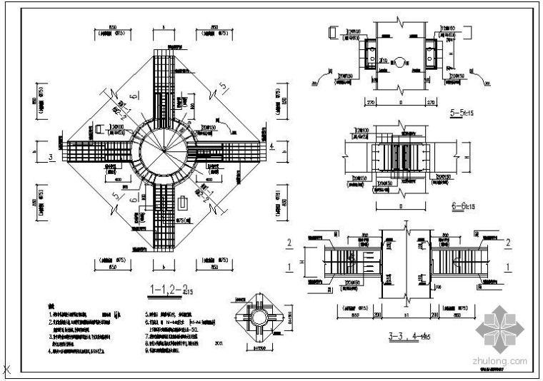 某钢管混凝土柱A型梁柱节点配筋大样节点构造详图