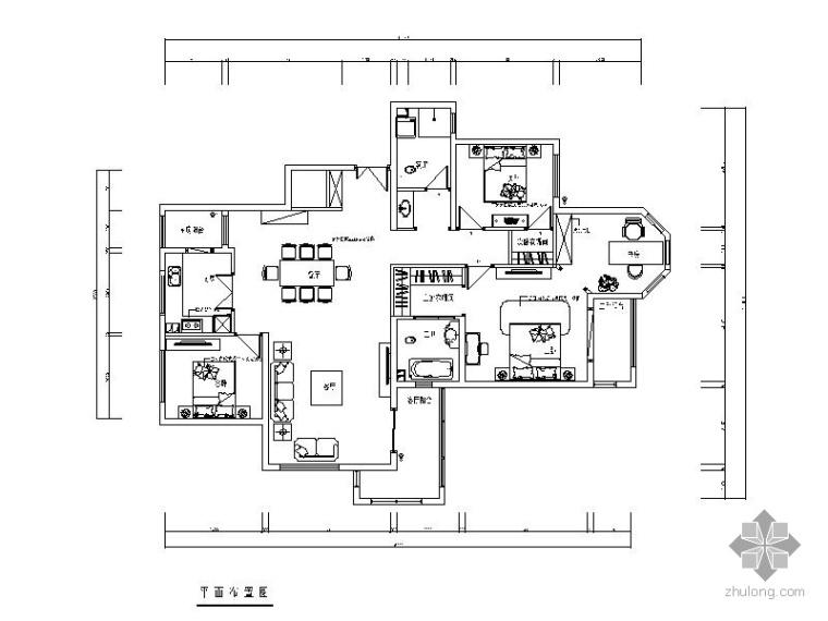 欧式三室二厅室内装修施工图(含效果)