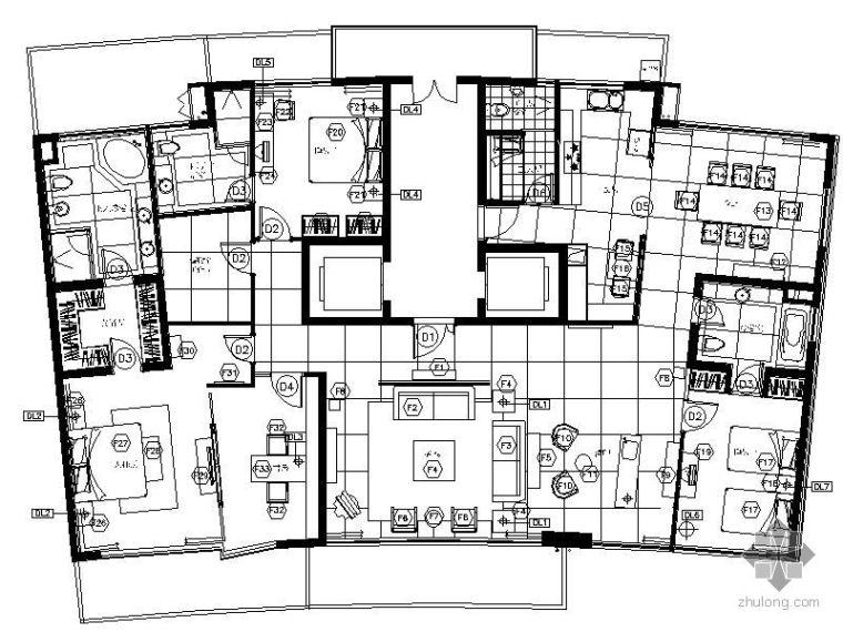 [上海]某中央公寓四居室样板房家装施工图