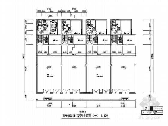 [北京]某三层联排别墅户型平面图(270平方米)