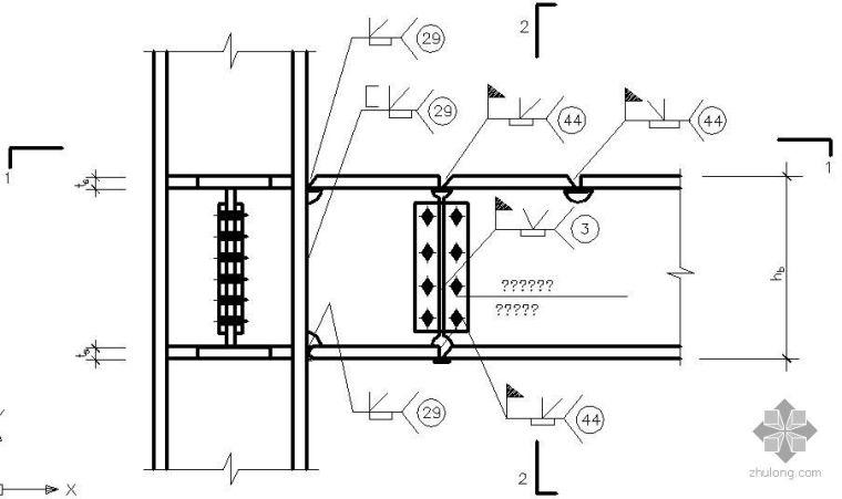 某箱形梁与箱形柱的刚性连接节点构造详图