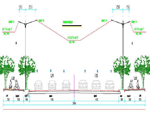 [施工图][湖南]路市政35米幅宽道路交通a市政设cad如何加深字体图片