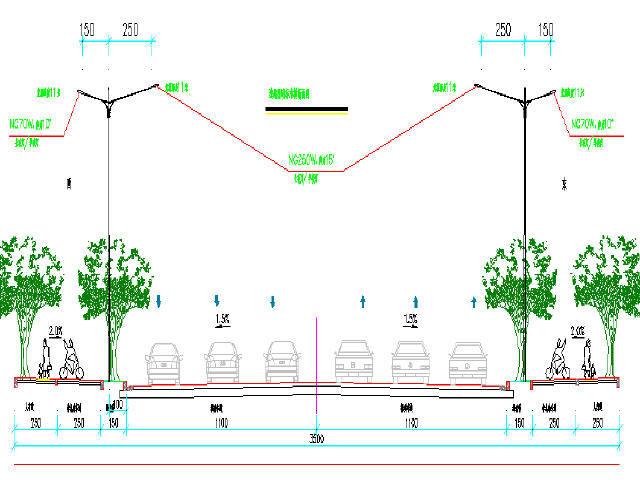 [湖南]路幅宽35米市政道路交通安全设施及亮化工程设计图47张CAD