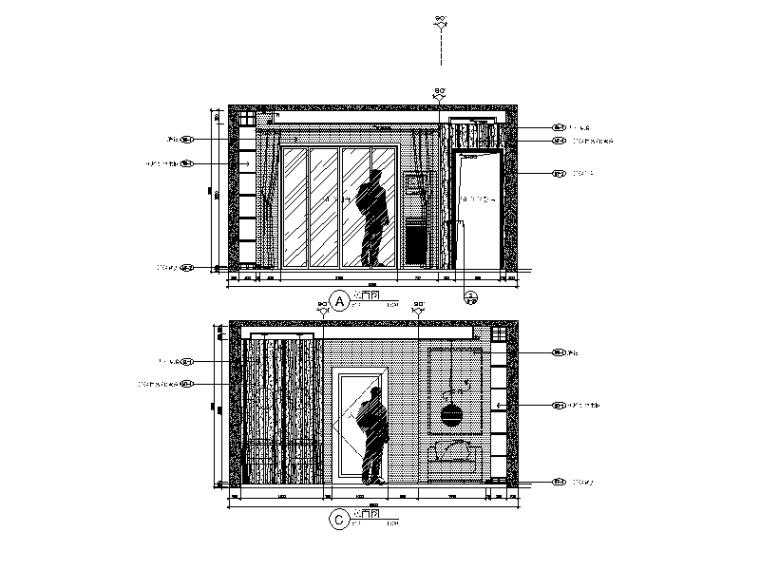 现代简约风格样板间设计施工图(含效果图)_2