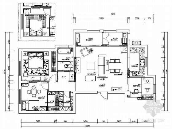 [宁波]高端法式社区现代三居室装修施工图