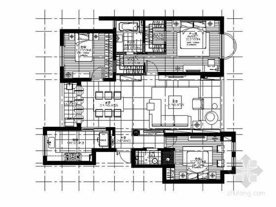 [福建]107平简约现代三居室室内装修施工图(含效果)