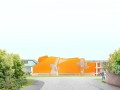 Peter Cook 公布伯恩茅斯艺术大学创意中心方案,用橙色交叉木材