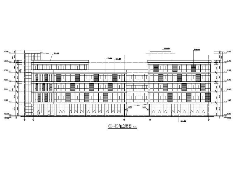 五层框架结构厂房建筑结构施工图(中间通透有连廊)