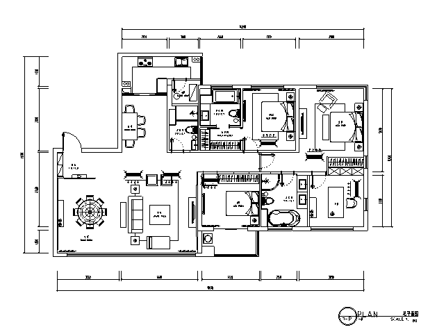 [无锡]欧式四室二厅三卫住宅室内设计施工图(含效果图)
