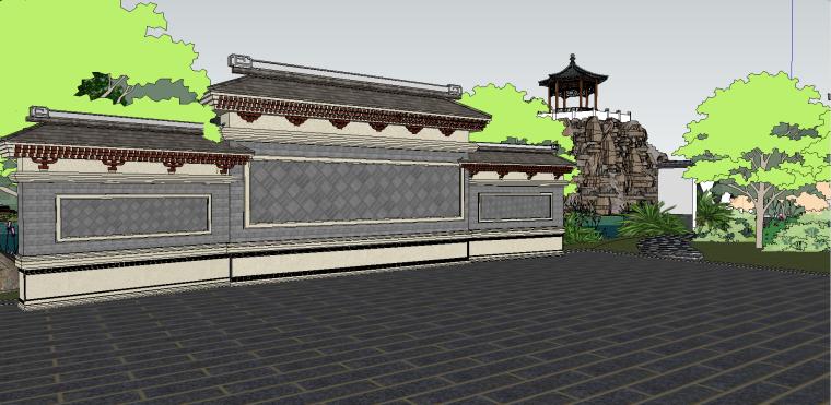 中式古建园林会所院落模型(su模型)-2
