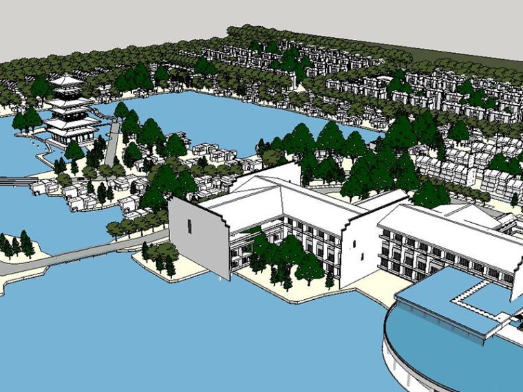 中式风景规划SU建筑模型