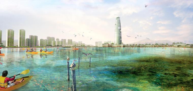 [河南]郑州西流湖生态智慧新城城市设计(滨水)A-1效果图