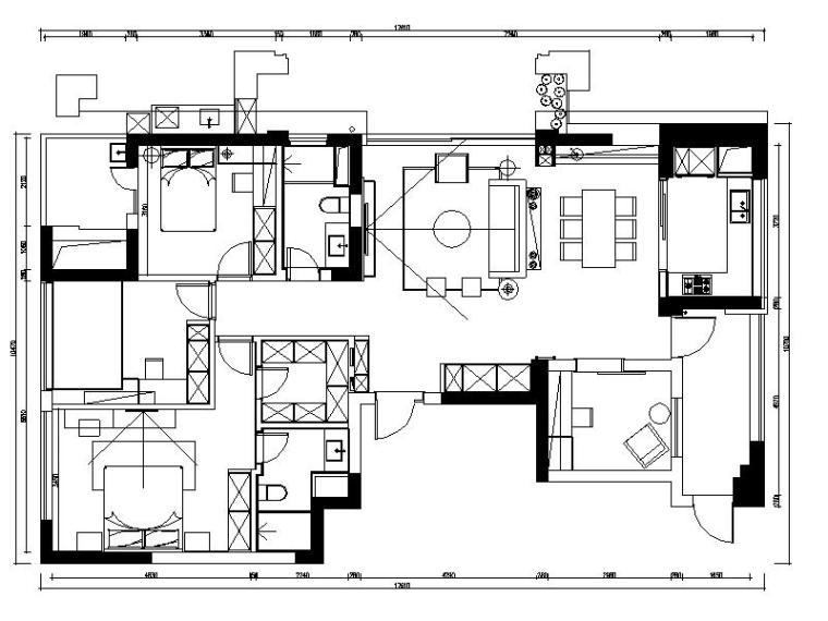 [杭州]台式简雅温馨舒适样板间室内设计施工图(含效果图)