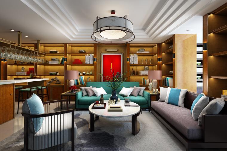 新中式样板间客餐厅设计3D模型(附效果图)
