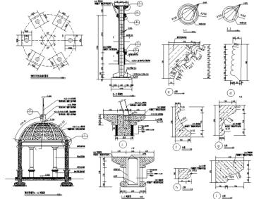 园林景观小品亭廊花架CAD施工图228张