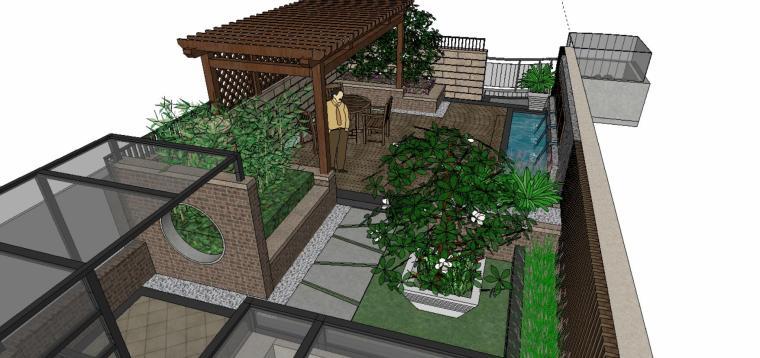 中式风格庭院景观设计模型(su模型)