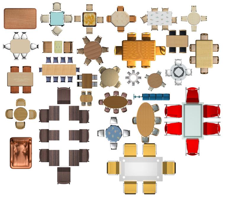 室内设计常用PSD彩色平面图块—桌椅类PSD图块