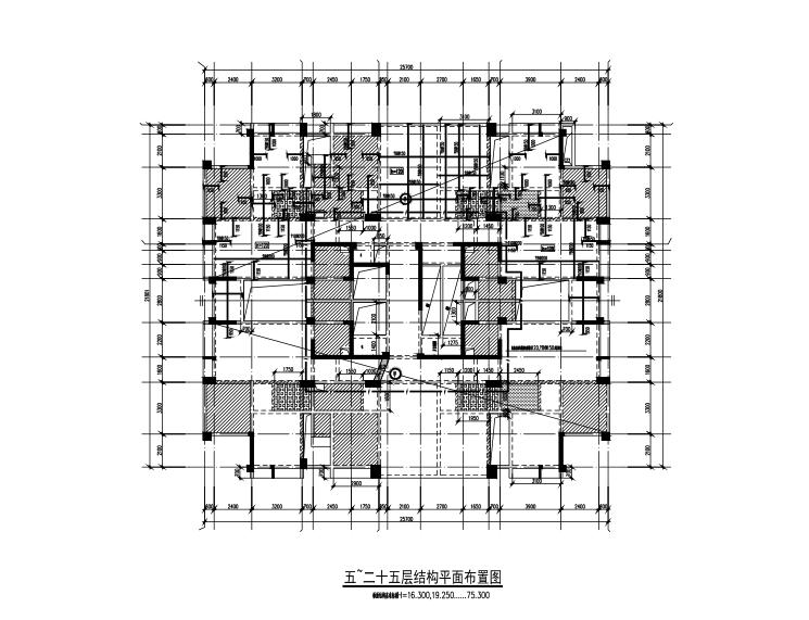 25层框架剪力墙结构综合楼建筑结构施工图-5~25层结构平面布置图