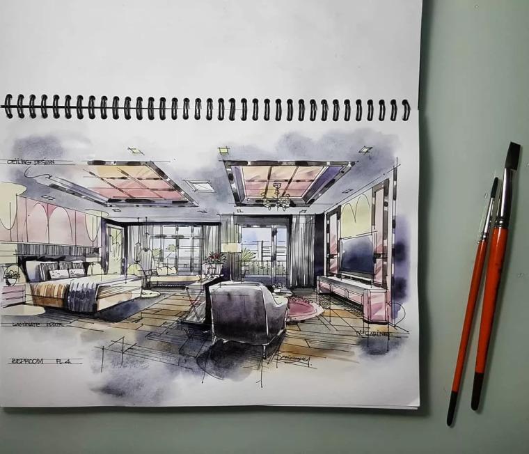 室内手绘水彩技法表现!_18
