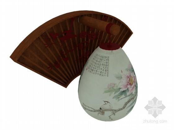 中式壁灯3D模型下载