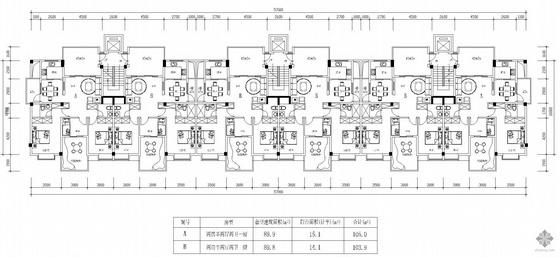 塔式高层一梯两户户型组合(105/104)