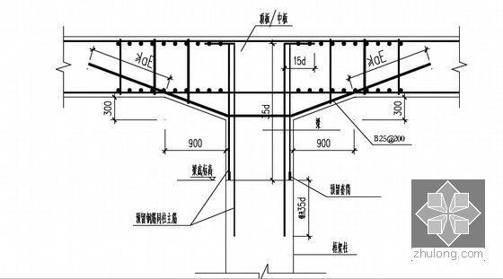 [江苏]逆作法地铁双柱三跨框架车站施工组织设计166页(高压旋喷桩复合挡土墙)-柱钢筋预留示意图