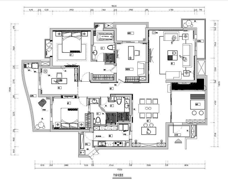 旭辉左海岸室内施工图设计(CAD+实景图)