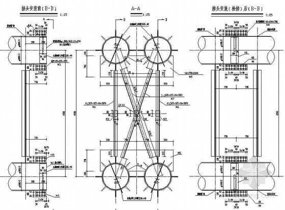380m中承式钢管混凝土系杆拱桥主拱肋分段接头构造节点详图