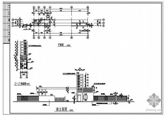 某门卫房及大门结构图