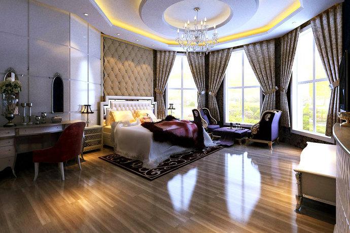 178平米现代欧式三居卧室装修效果图