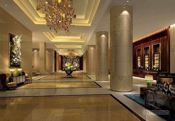 [湖南]别具一格奢华高档五星级商务酒店设计方案大堂效果图