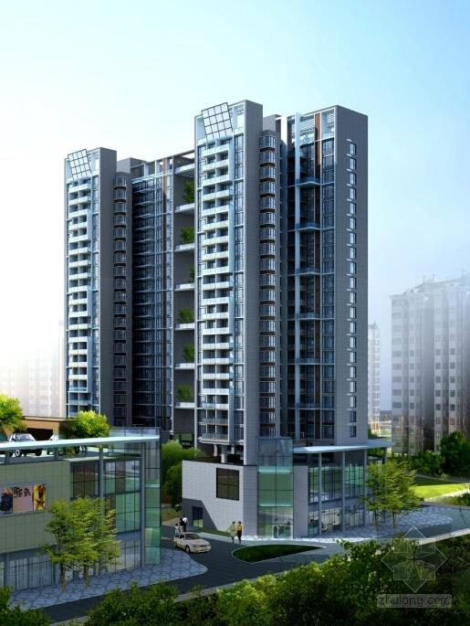 [广东]高层现代风格购物中心及住宅建筑设计方案文本-高层现代风格购物中心及住宅建筑效果图
