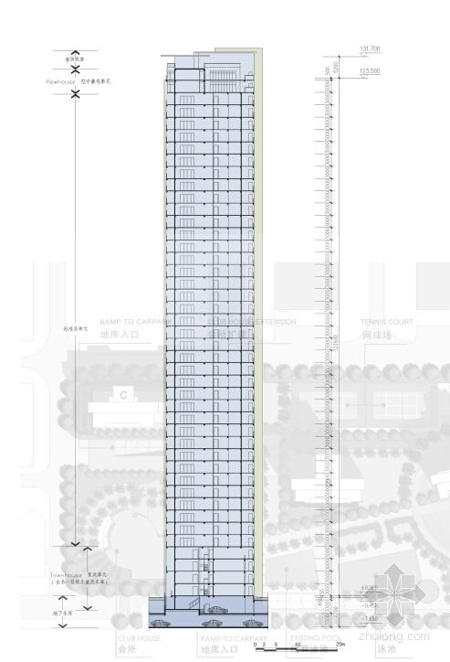 超高层现代风格住宅区剖面图