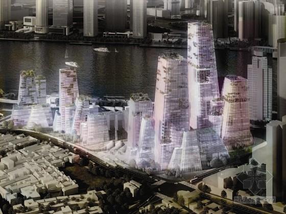 [上海]筒中筒结构混合型办公区规划及单体设计方案文本  (资料详细