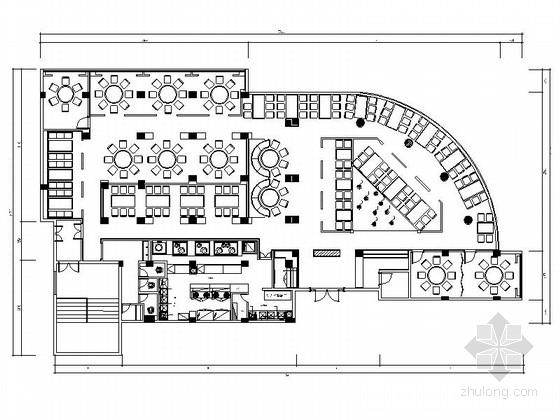 [福州]现代风格特色餐厅设计CAD装修图(含效果)